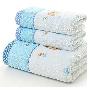 Niños toallas de baño para niños, 3 piezas 100% algodón juego de toallas de hotel/SPA de lujo, incluye toallas de baño y paños: Amazon.es: Hogar