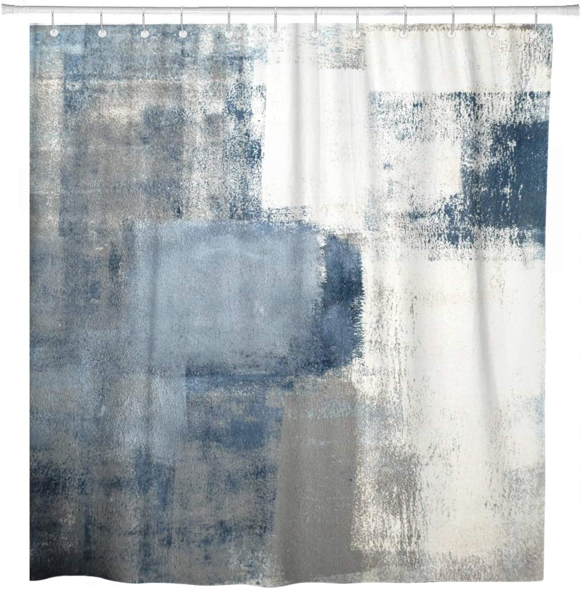 ArtSocket Shower Curtain Gray Contemporary Blue and Grey Abstract Painting Home Bathroom Decor Polyester Fabric Waterproof 72 x 72 Inches Set with Hooks