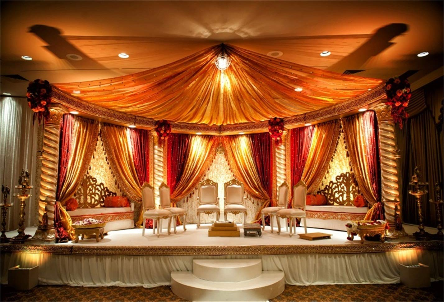 Csfoto 7x5ft Background For Indian Wedding Mandap Photography Backdrop Luxury Wedding Ceremony Banquet Room Interior Engagement Marriage Marquee