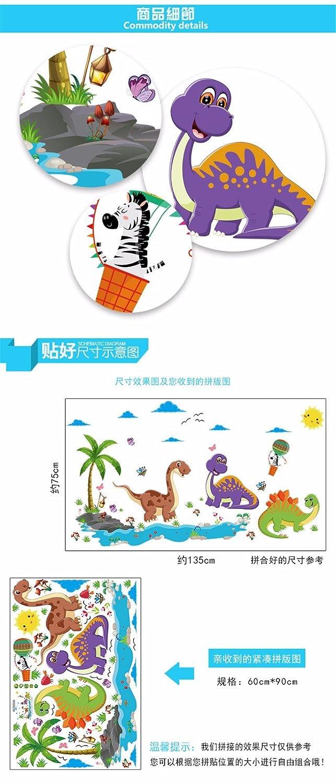 Bomeautify Pegatinas de pared Etiqueta la Habitación de dibujos animados de dinosaurio paraíso de los niños de la decoración de fondo extraíble guardería ...