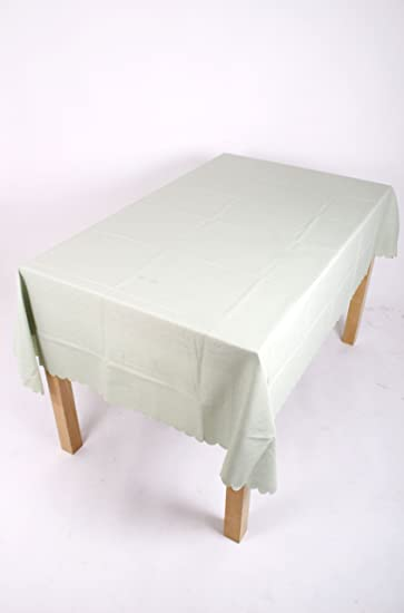 54 INCH ROUND TABLECLOTH. RAZOR SHELL PLAIN HEMMED EDGE. 14 COLOURS, STAIN