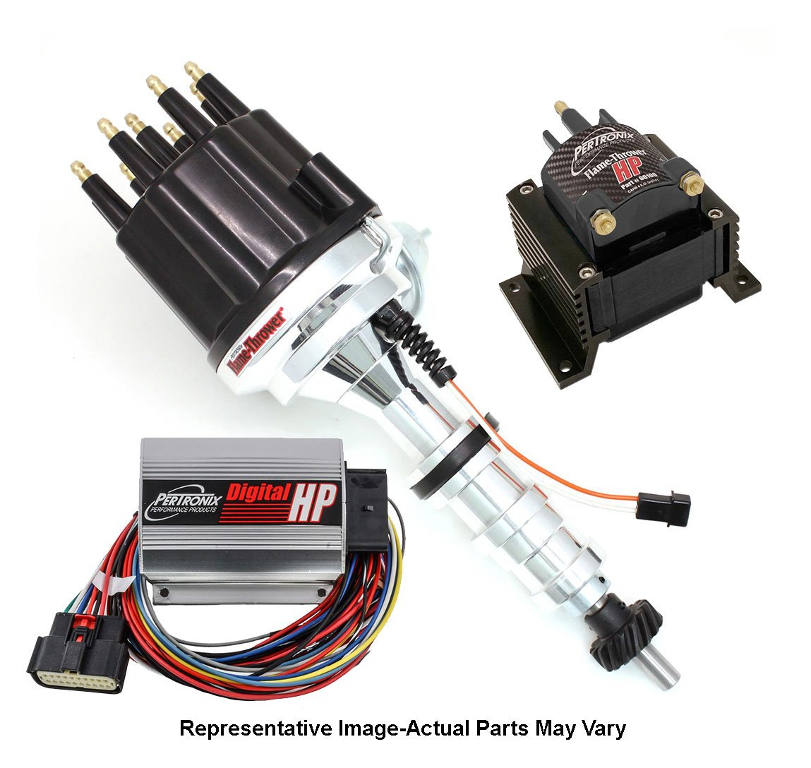 Pertronix BundleHP08 Digital Ignition Box Ford FE Mag Trigger Billet Distributor Black Male Cap, HP E-core 45,000 Volt .02 Ohms Coil