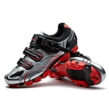 SANTIC Zapatillas Ciclismo MTB Zapatillas Bicicleta Montaña Hombre Zapatos Ciclismo Calzado Bicicleta Montaña Plateado EU 43