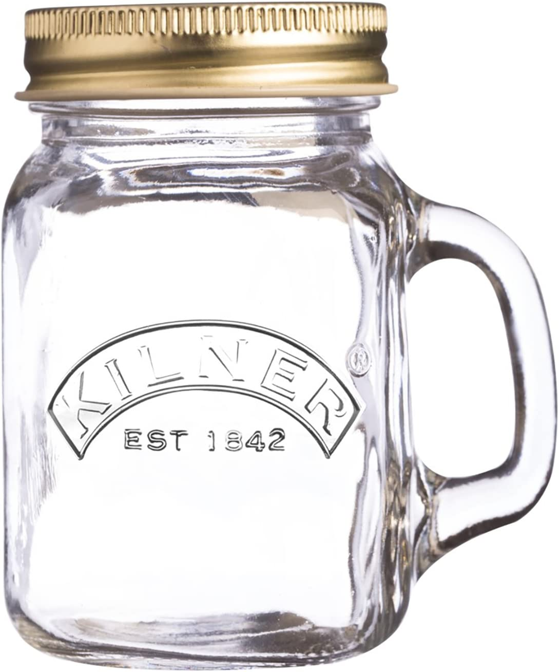 Kilner Glassware Mini Handled Drinking Jar with Screw-top Lid, Small Container Perfect for Bridal Shower Favors, Gifting Homemade Jams and More, 4-3/4-Fluid Ounces