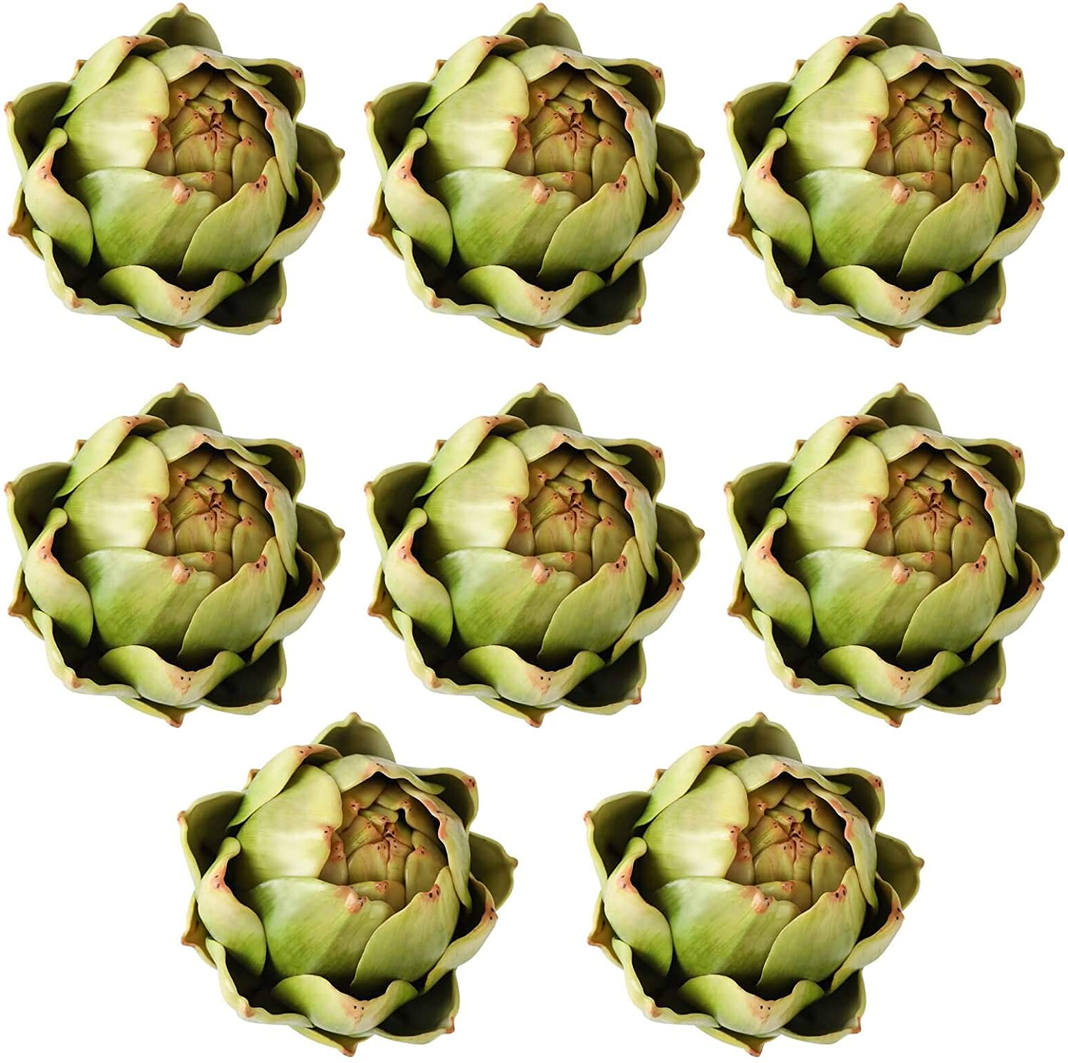 [8-Pack] Large Green Faux Artichokes - Artificial Vegetables and Fake Fruits for Kitchen Decorations (Green)