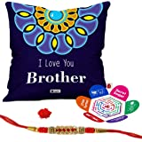 """Indigifts I Love U Brother Quote Printed Cushion Cover 12""""X12"""" With Filler, Crystal Rakhi , Roli, Greeting Card For Men/Boys"""