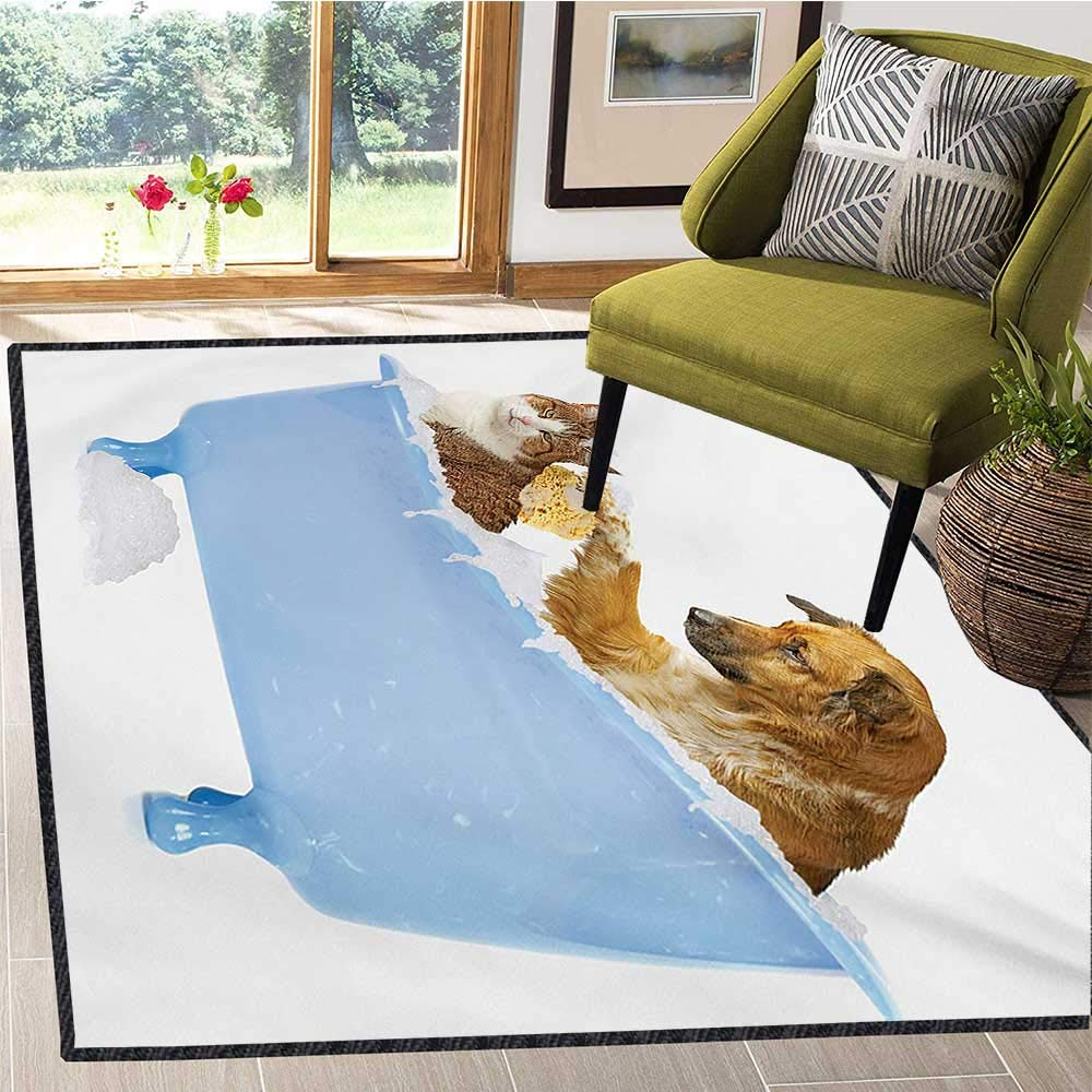 Cat, Bath Mat 3D Digital Printing Mat, Dog and Kitty in The Bathtub Together with Bubbles Shampooing Having Shower Fun Artsy Print, Door Mat Indoors Bathroom Mats Non Slip 6x9 Ft Multi
