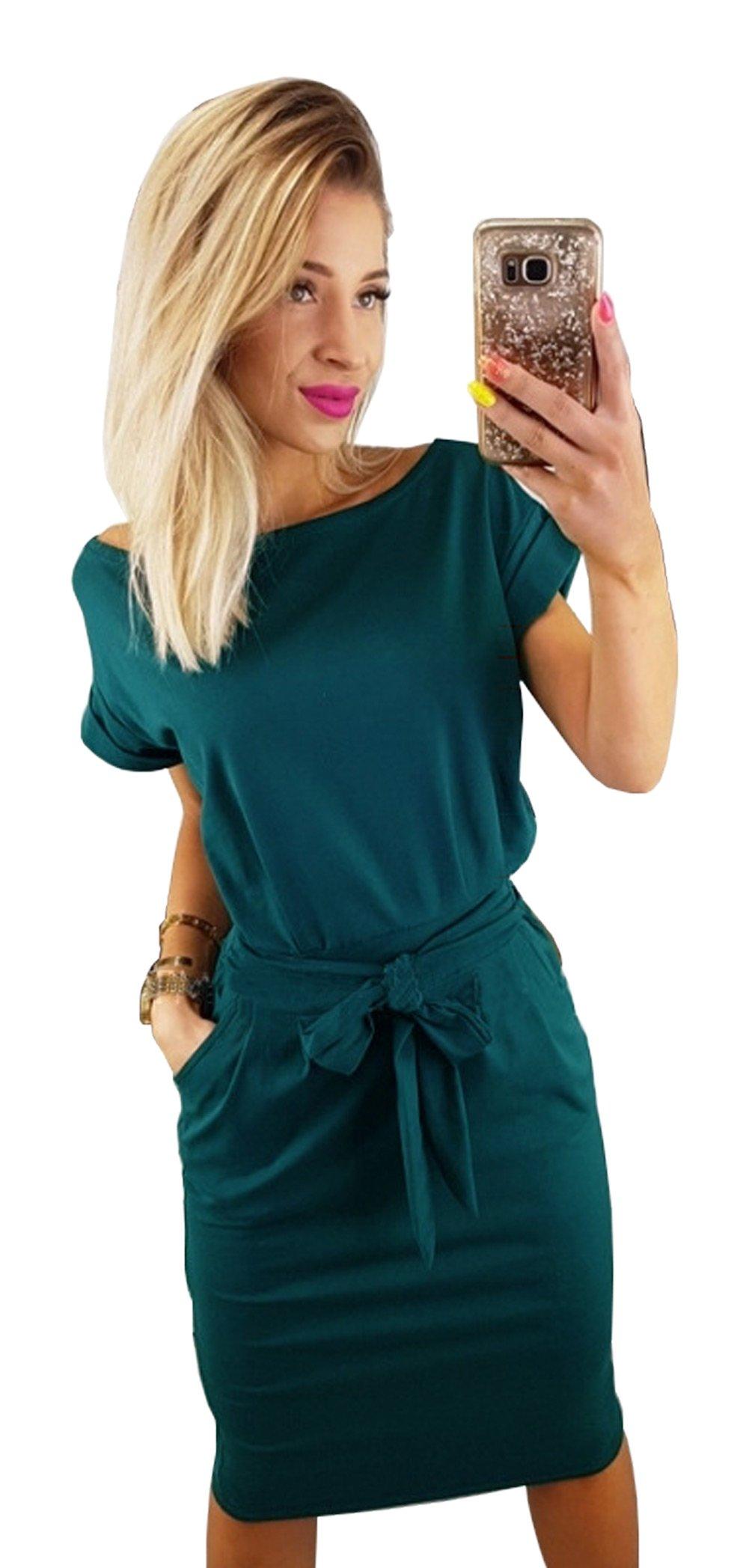 Longwu Women's Elegant Short Sleeve Wear to Work Casual Pencil Dress with Belt Dark Green-S
