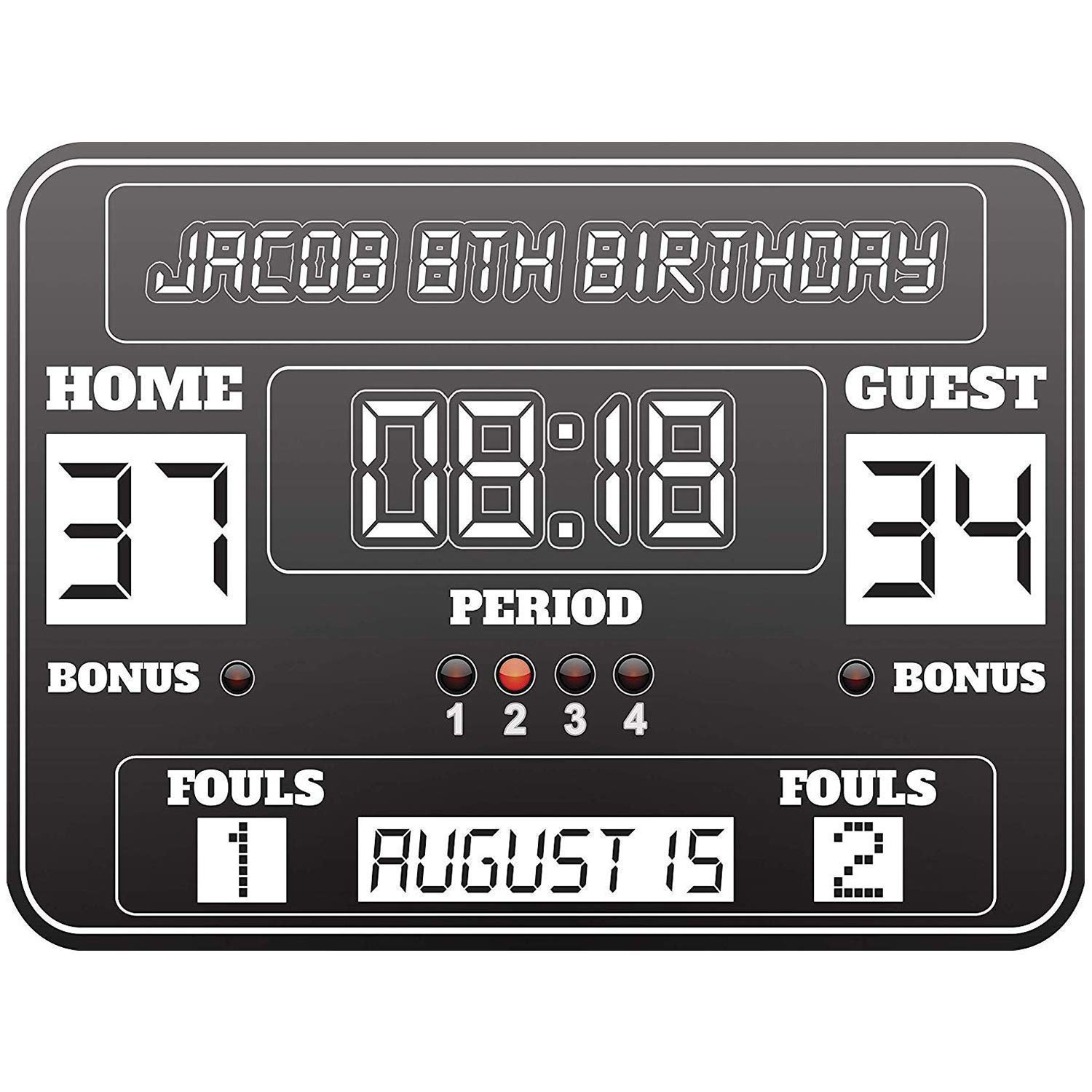 Basketball Birthday Party Banner Size 24x18, 36x24, 48x24 and 48x36 Basketball Scoreboard,Birthday Party Poster, Personalized Basketball Scoreboard, Scoreboard, Kids Party, Party Supply Poster Print