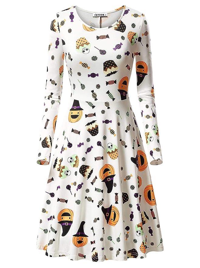 VETIOR Casual Dress, Women's Halloween Candy Pumpkin Skull Printed Dress 17049-7 Small