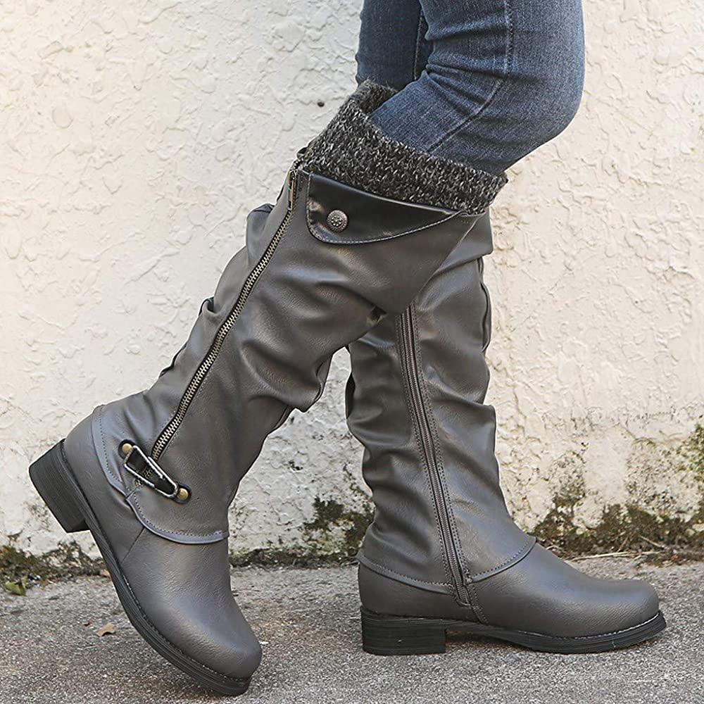 Women/'s Block Heel Full-Zip Knee High Boots Faux Leather Shoes Plus Size US 2~14