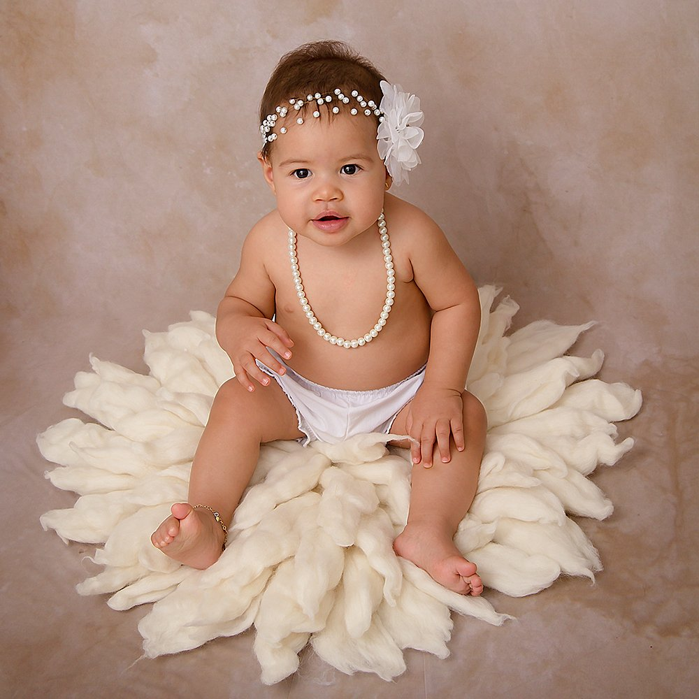 Fox tail Shape Fluffy Quality Soft Total Diamater 25.6INCH MILK WHITE D/&J Handcraft Newborn Photography Props 100/% Wool Blanket Baby Photo Basket Props Stuffer Filler Mat