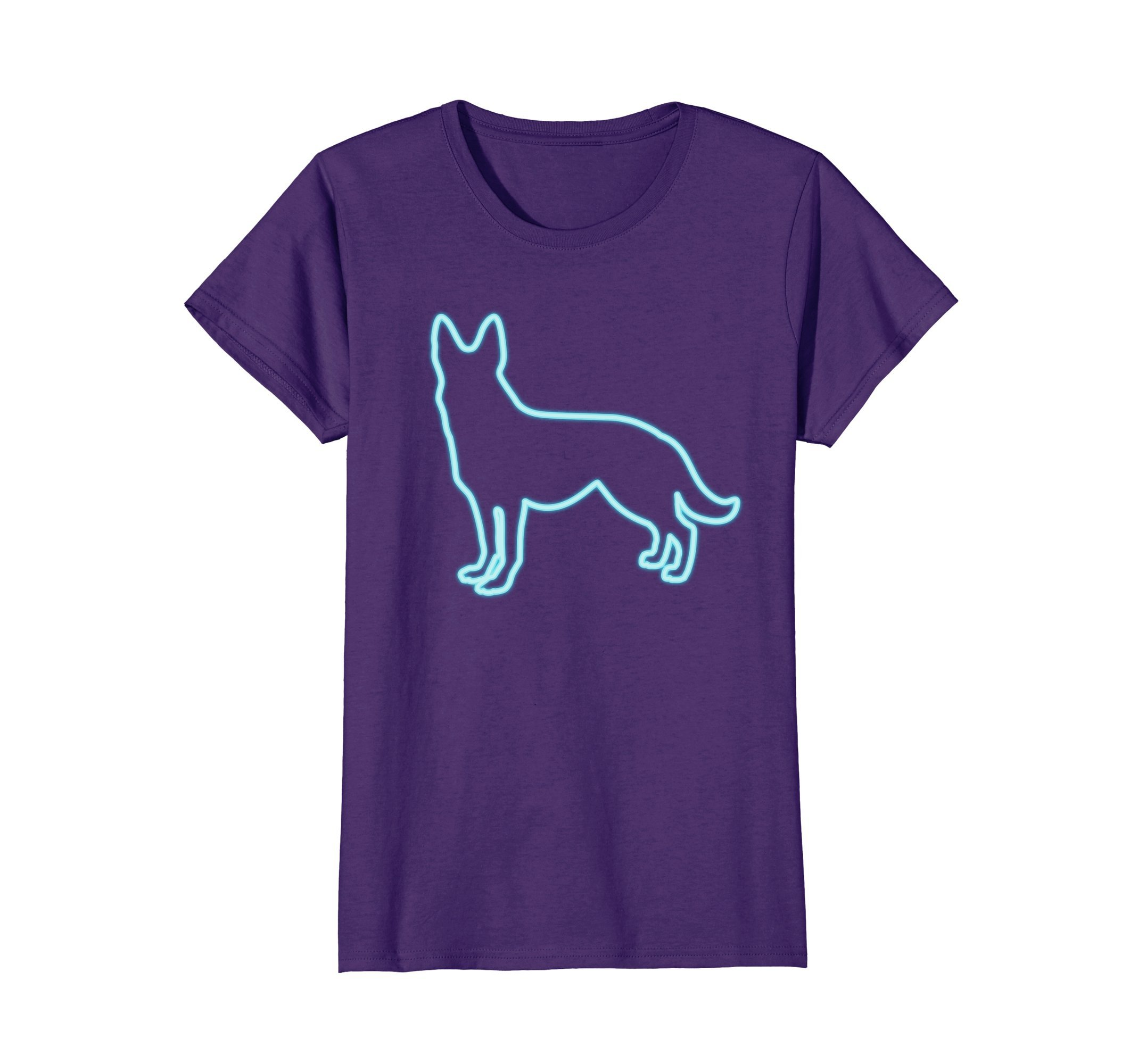 Womens 80s Retro Neon Sign German Shepherd Dog T-Shirt. 80's Gift XL Purple