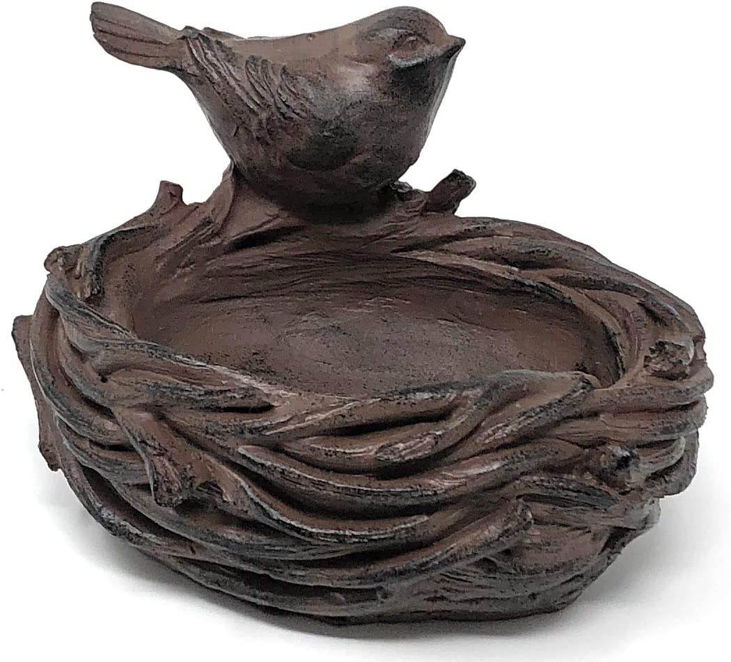 XatHome Little Bird Perched on a Nest, Rustic Brownish Dirty Look, Resin Figurine Home Decor