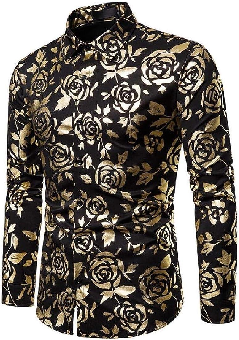 omniscient Men Business Long Sleeve Paisley Cotton Casual Button Down Dress Shirt
