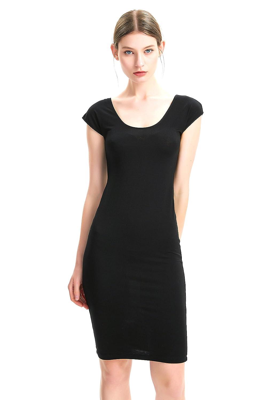 Black zhAjh Women's Cap Sleeve Crew Neck Knee Length Layering Slip Dress S 2XL
