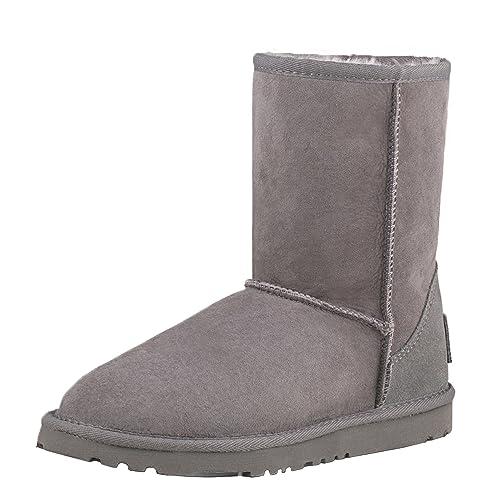 Shenduo Zapatos Invierno clásicos Botas de Nieve de Piel con Lana Interno Antideslizantes para Mujer DV5825