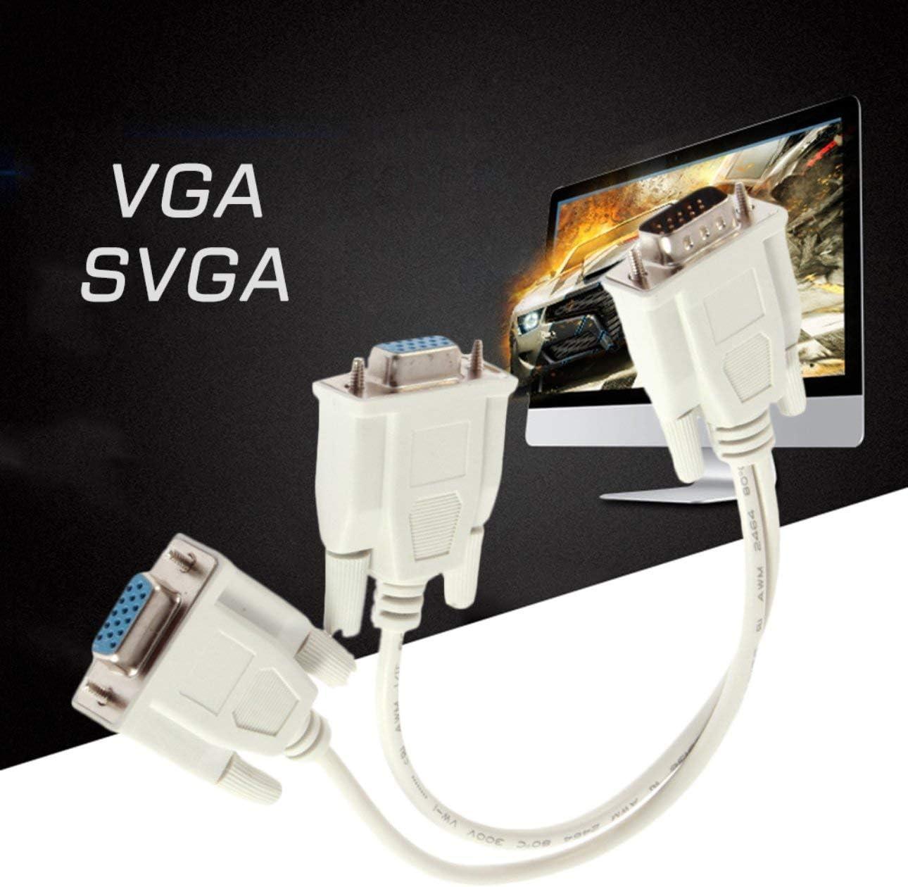 Celerhuak 1 VGA macho a 2 Cable divisor VGA hembra Monitor VGA SVGA de 2 v/ías Gr/áfico de video dual LCD TFT Y Cable divisor Cable