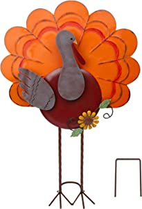 ATDAWN Metal Free Standing Turkey Decoration for Autumn Fall Thanksgiving Harvest Yard Decoration (26.3 Inch)
