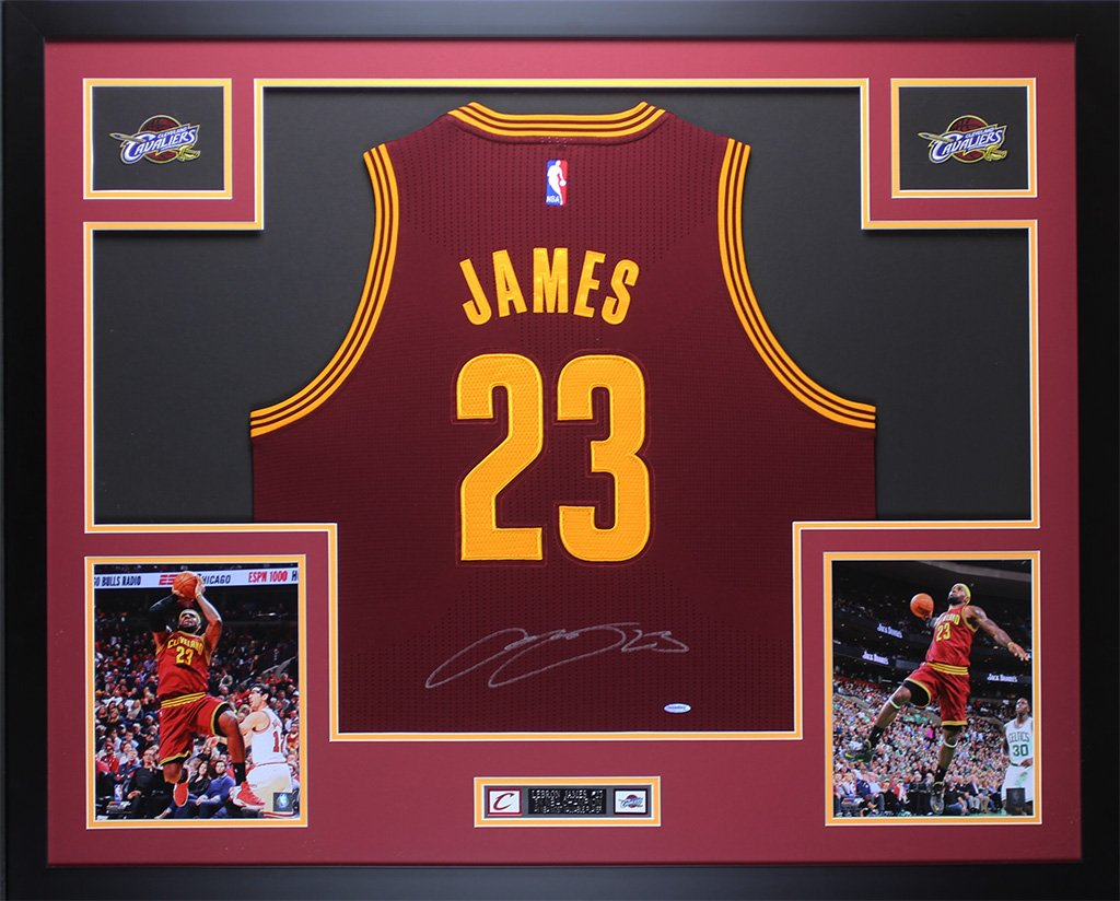 reputable site f76e3 7f6ec LeBron James Autographed Maroon Cavs Jersey - Beautifully ...