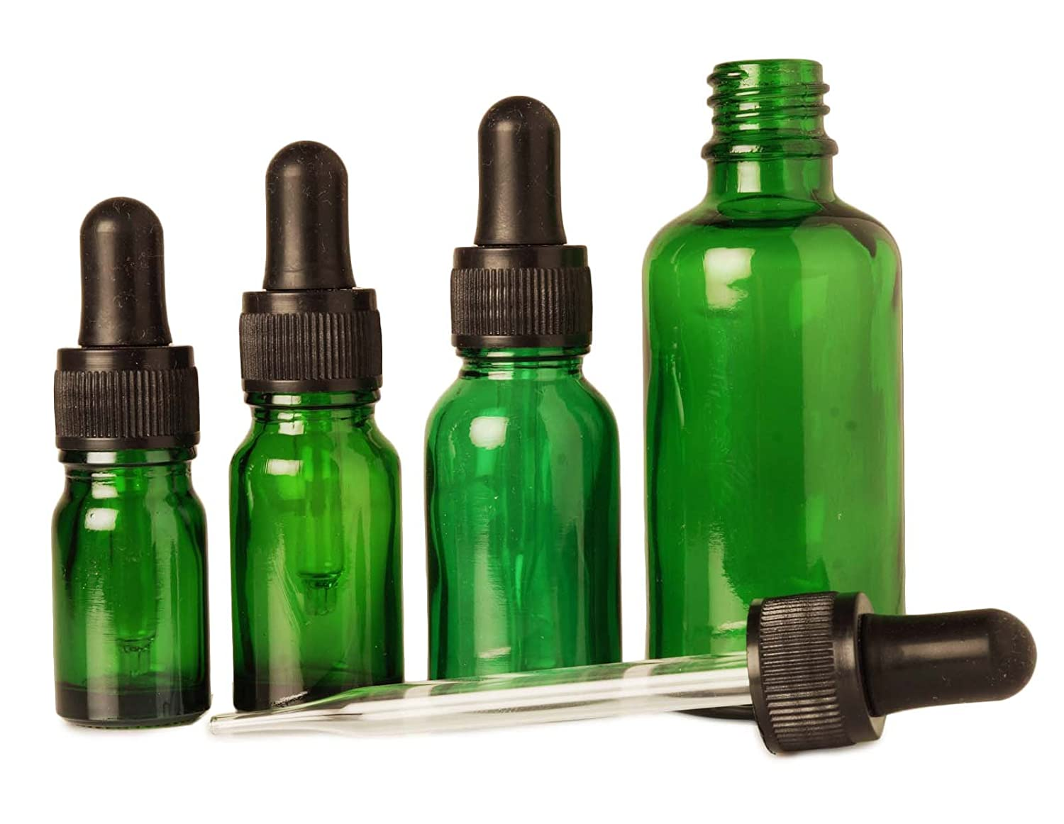 12 Pcs Refillable Serum Pipette Drop Bottles Wholesale Green Glass Eye Dropper Bottles Aromatherapy Essential Oils 10 ml Empty Bottles MT Bottles & Jars