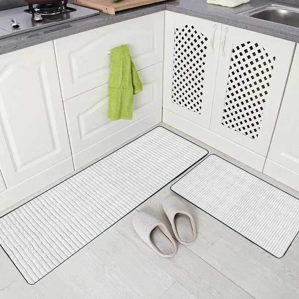 Amazon Com Roolays Washable Kitchen Rug 2 Piece 17 X48 17 X24 Country Rugs White Natural Plush Terry Cloth Turkish Bath Beach Bathroom Towel Textured Fabric Perfect Background Closeup For Kitchen Floor Kitchen Dining