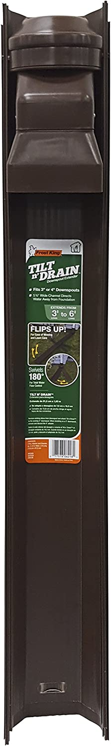 Frost King GWS3B Tilt and Drain Downspout Extender, 6 ft, Brown