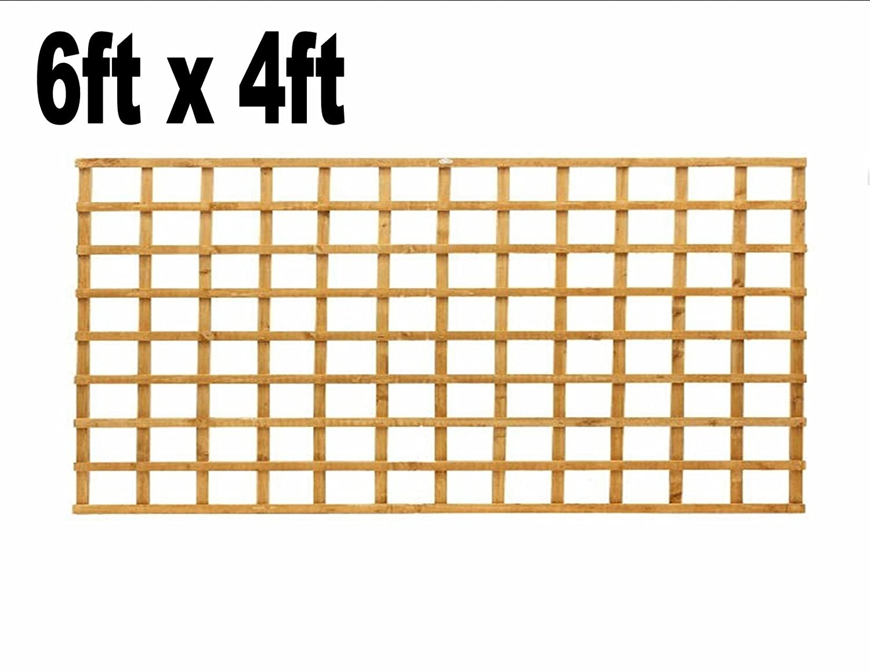 6ft x 4ft Garden Trellis Heavy Duty Treated Screen Square Pressure Treated Autumn Gold Innovo