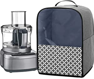 YarwoFood Processor Dust Cover with Pockets and Top Handle, Compatible with Hamilton Beach, Cuisinart 7-10 Cup Food Processor, Gray with Grid (Cover Only, Patent Pending)