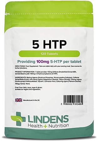 Lindens - tabletas de 100 mg 5 HTP - 120 de paquete: Amazon.es: Electrónica