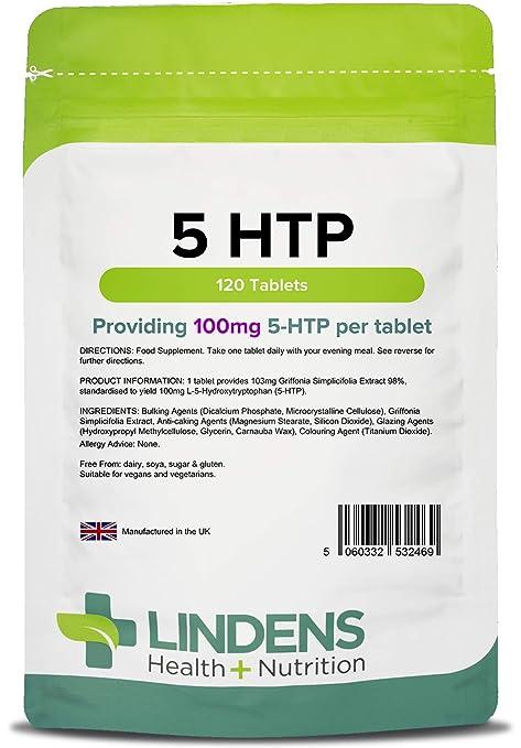 Lindens - tabletas de 100 mg 5 HTP - 120 de paquete
