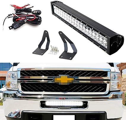 Strobe Function Lower Grill LED Ligth Bar w//Bracket Wire For Silverado 2500 3500