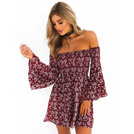 7e320ef77208 2019 New Women's Floral Dress, E-Scenery Casual Summer Off Shoulder Long  Sleeve Short