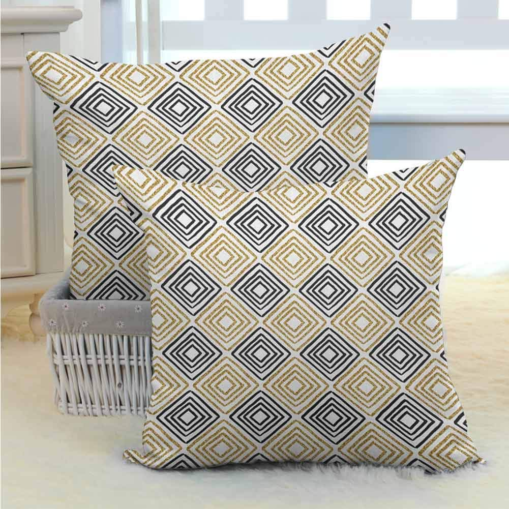 Modern Comfortable Pillowcases Square Shaped Lines with Inner Gold Toned Bands Minimalist Bohemian Design Print Standard Size Bedding Gift for Sofa Couch Home Outdoor Decor 2PCS Black White -