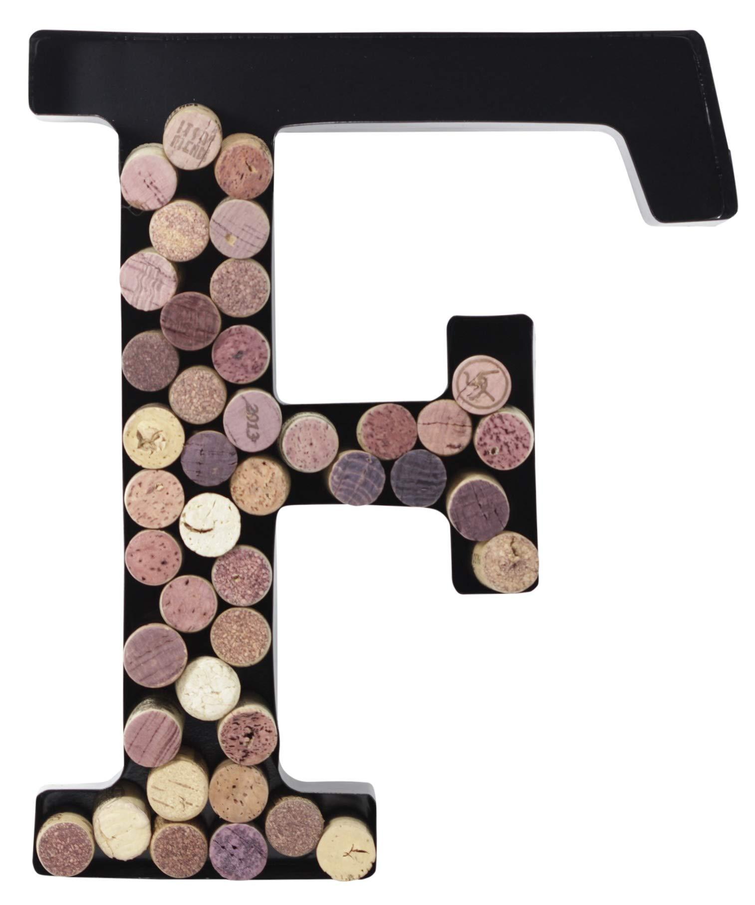 Metal Letter Wine Cork Holder Monogram w/Free Wall Mount Kit A-Z, (F)