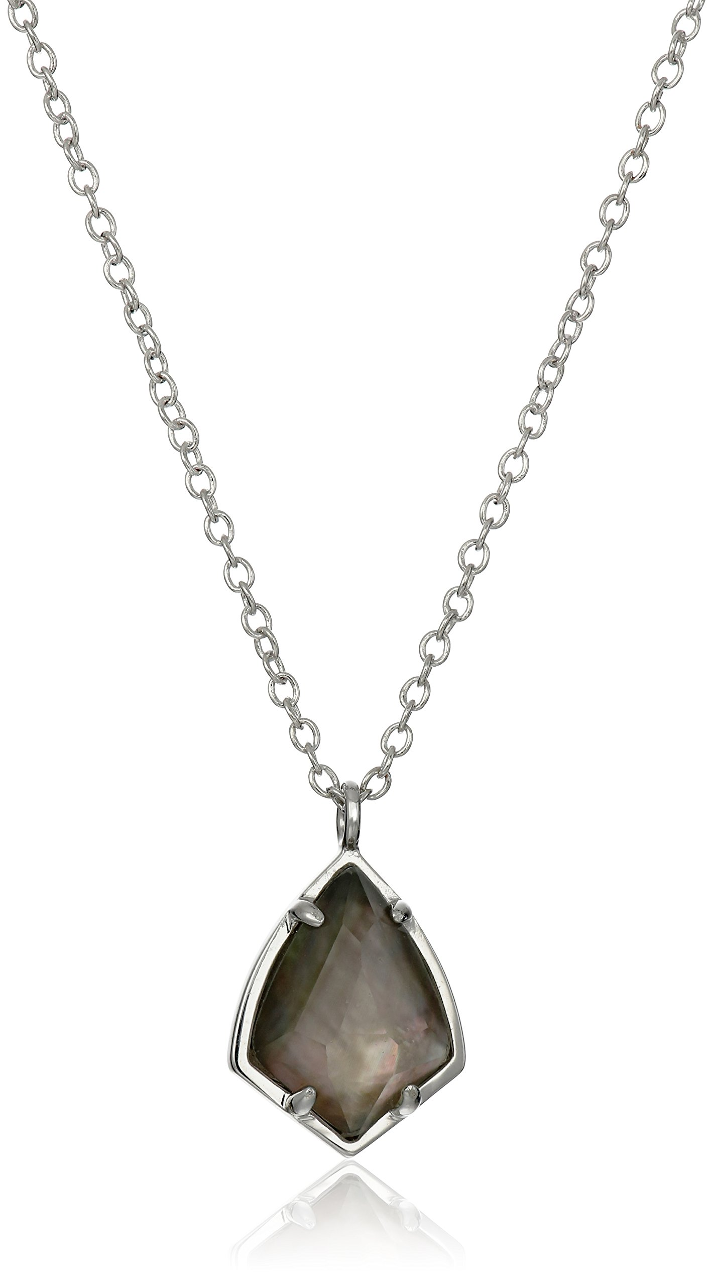 Kendra Scott Cory Rhodium Black Mother of Pearl Pendant Necklace, 18'' + 2'' Extender