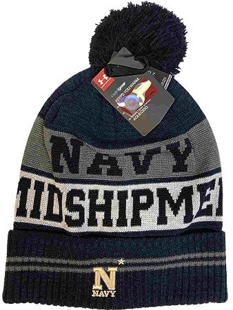 d6650e26cce11 Navy Midshipmen Under Armour Midnight Navy Sideline Pom Pom Beanie Hat Cap   Amazon.co.uk  Sports   Outdoors