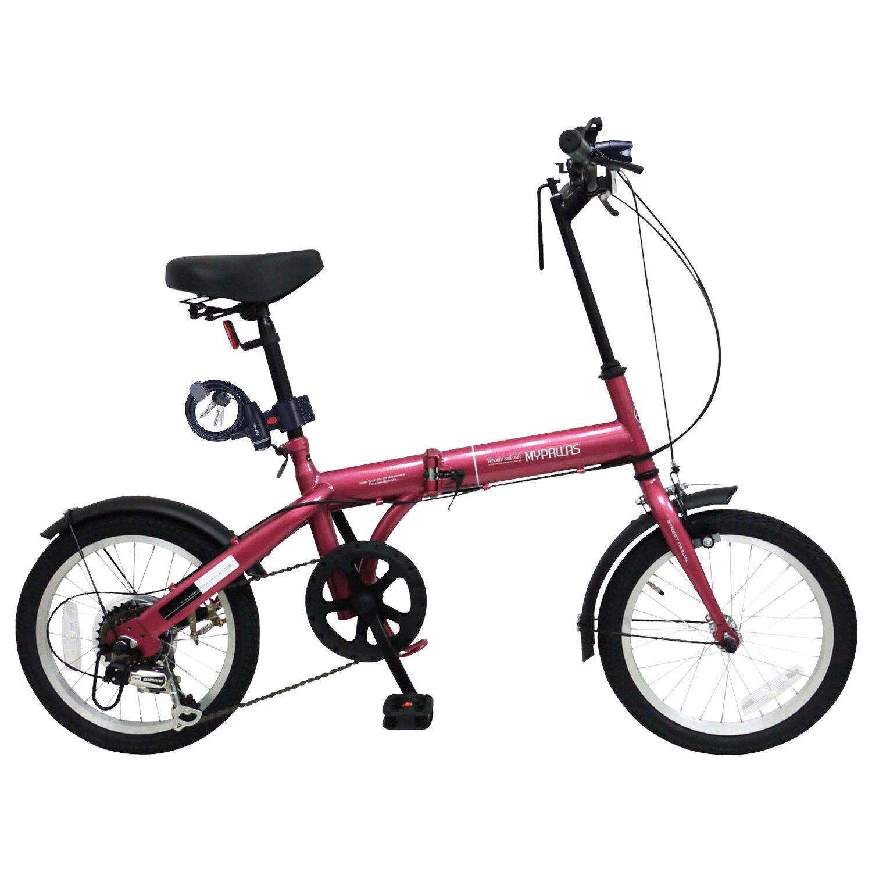 My Pallas(マイパラス) 折畳自転車16インチシマノ6段ギア/LEDライト付/ワイヤーロック付 M-104 B07CM9SL6Pルージュ