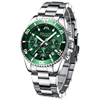 Men's Chronograph Watch Men's Stainless Steel Waterproof Watches for Men Large Luminous Analogue Date