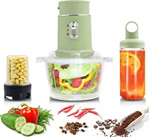 Multi-functional Electric Food Chopper Processor, 3-in-1 Home Blender with 2 Adjustable Speed Control, 1.5L Glass Bowl and Pepper Coffee Grinder - Stainless Steel Body, 250 W