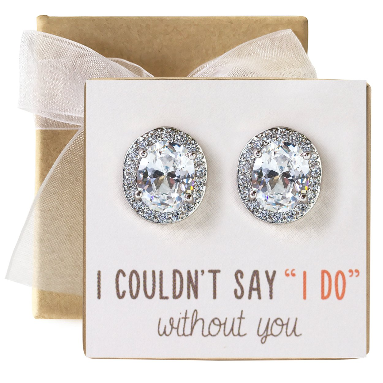 Cubic Zirconia Bridesmaid Stud Earrings Bridal Party Gift (set of 1)