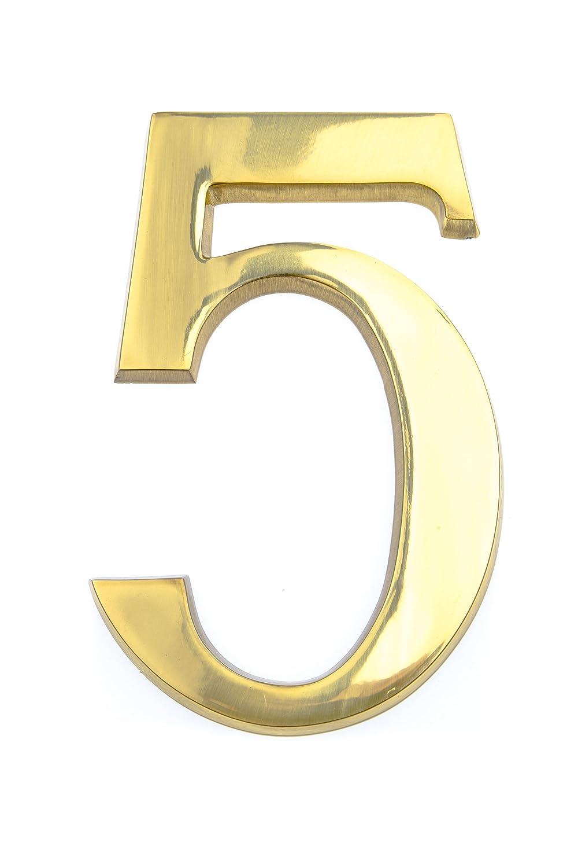 HUBER Hausnummer Nr 4 Messing gl/änzend 20 cm edles dreidimensionales Design