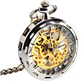 Pocket Watch - Open Face ManChDa Vintage Mechanical Special Steampunk Skeleton Dial Delicate Visible Movement for Men Women with Chain + Gift Box
