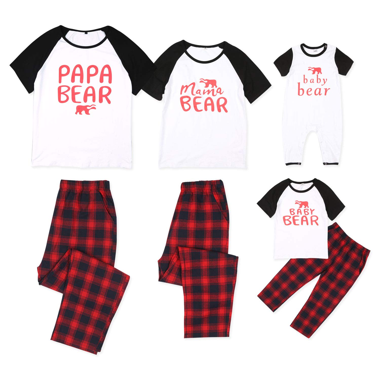 PatPat Matching Family Christmas Holiday Polar Bear PJ Pajamas Set Plaid Pant