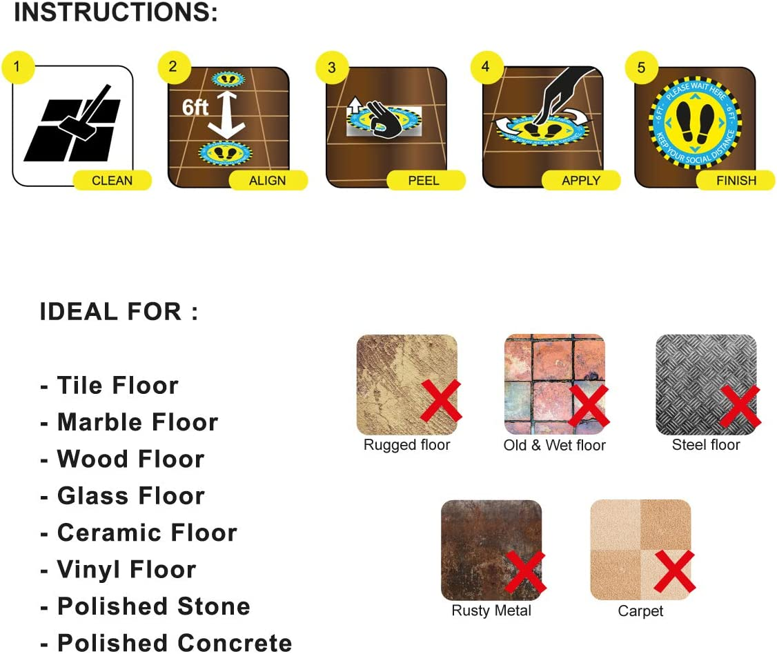 Premium Vinyl Floor Stickers Durable /& Waterproof Social Distance Floor Stickers for Indoor /& Outdoor 11 Social Distancing Floor Decals 10 Pack