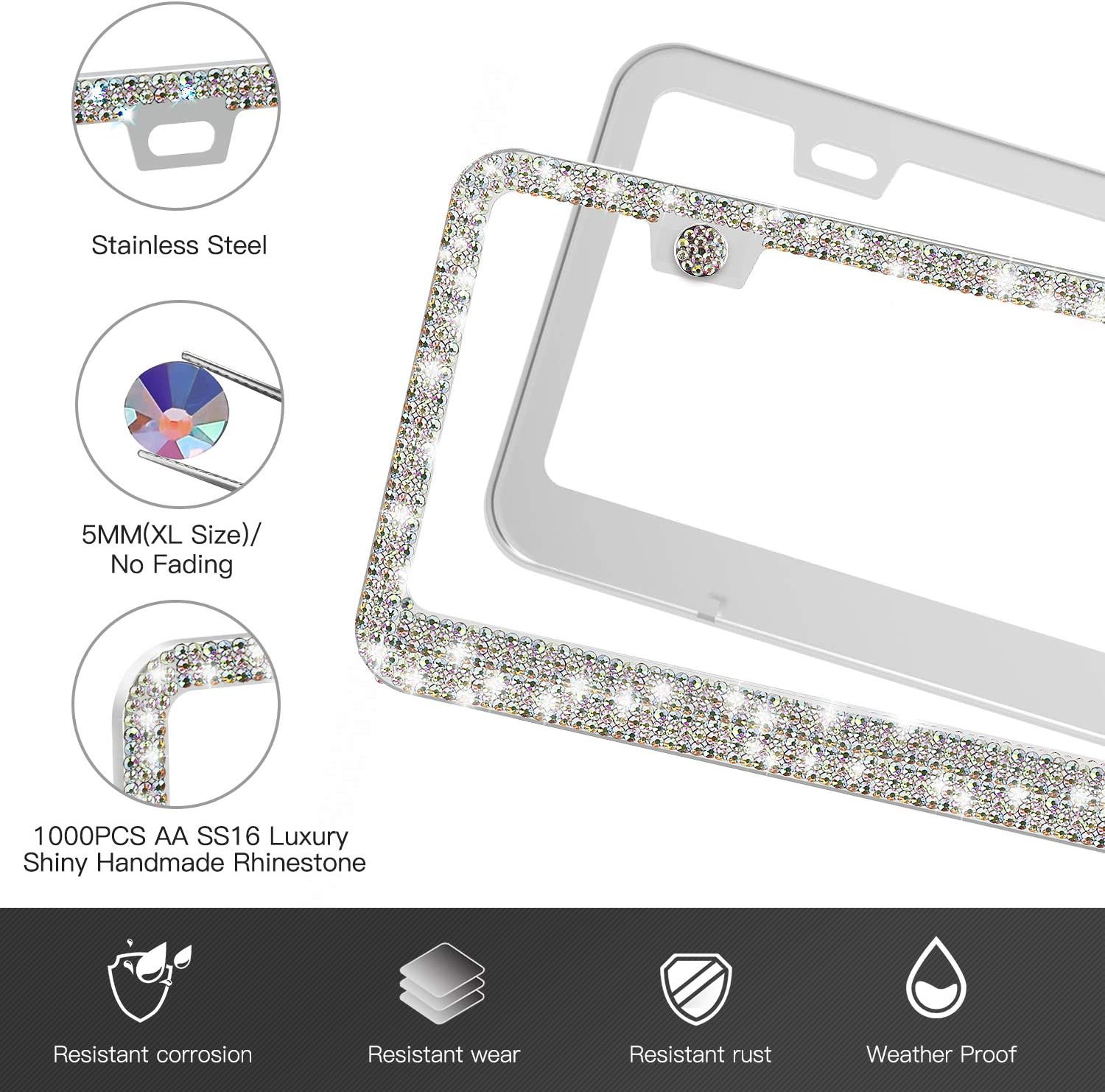 Bling Rhinestone License Plate Frame for Women 2PCS Luxury Handmade Multicolor Glitter Diamond License Plate Frames with Screw Caps for Front Back License with Screw Caps and Rhinestone Bling Ring