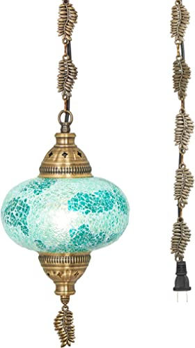 DEMMEX 2019 Swag Plug in Turkish Moroccan Mosaic Ceiling Hanging Light Lamp Chandelier Pendant Fixture Lantern, Hardwired OR Plug in with 15feet Cord Chain PlugIn13