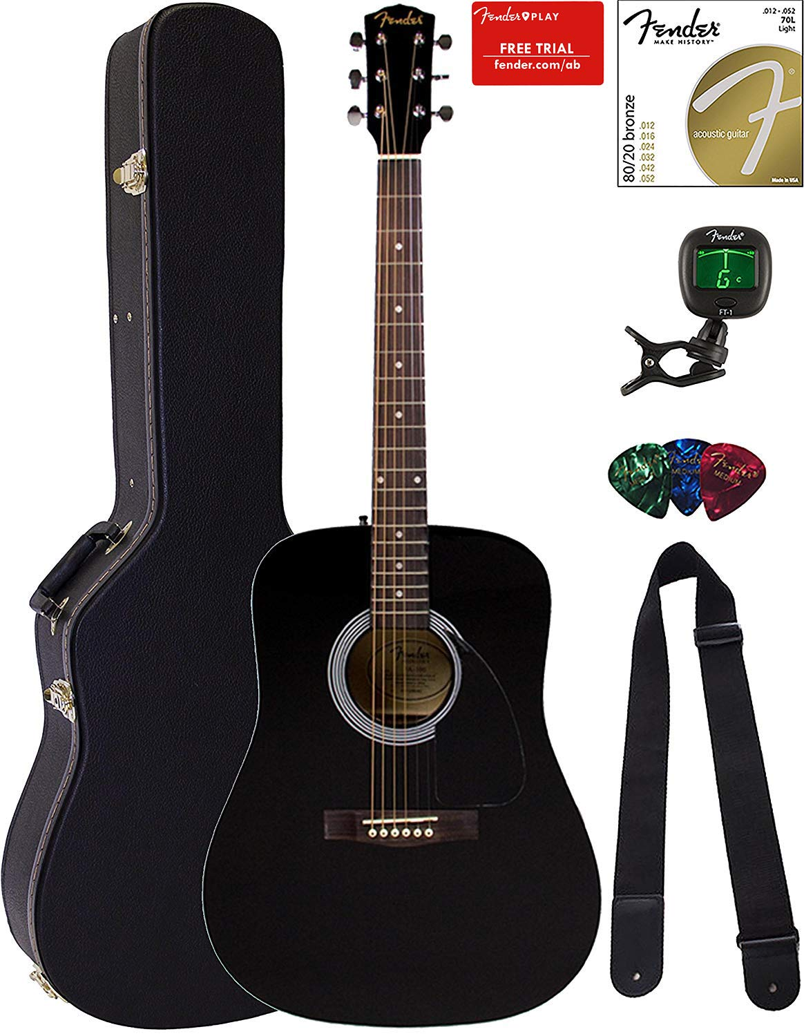 Fender FA-115 Dreadnought Acoustic Guitar - Black Bundle with Hard Case, Tuner, Strings, Strap, and Picks