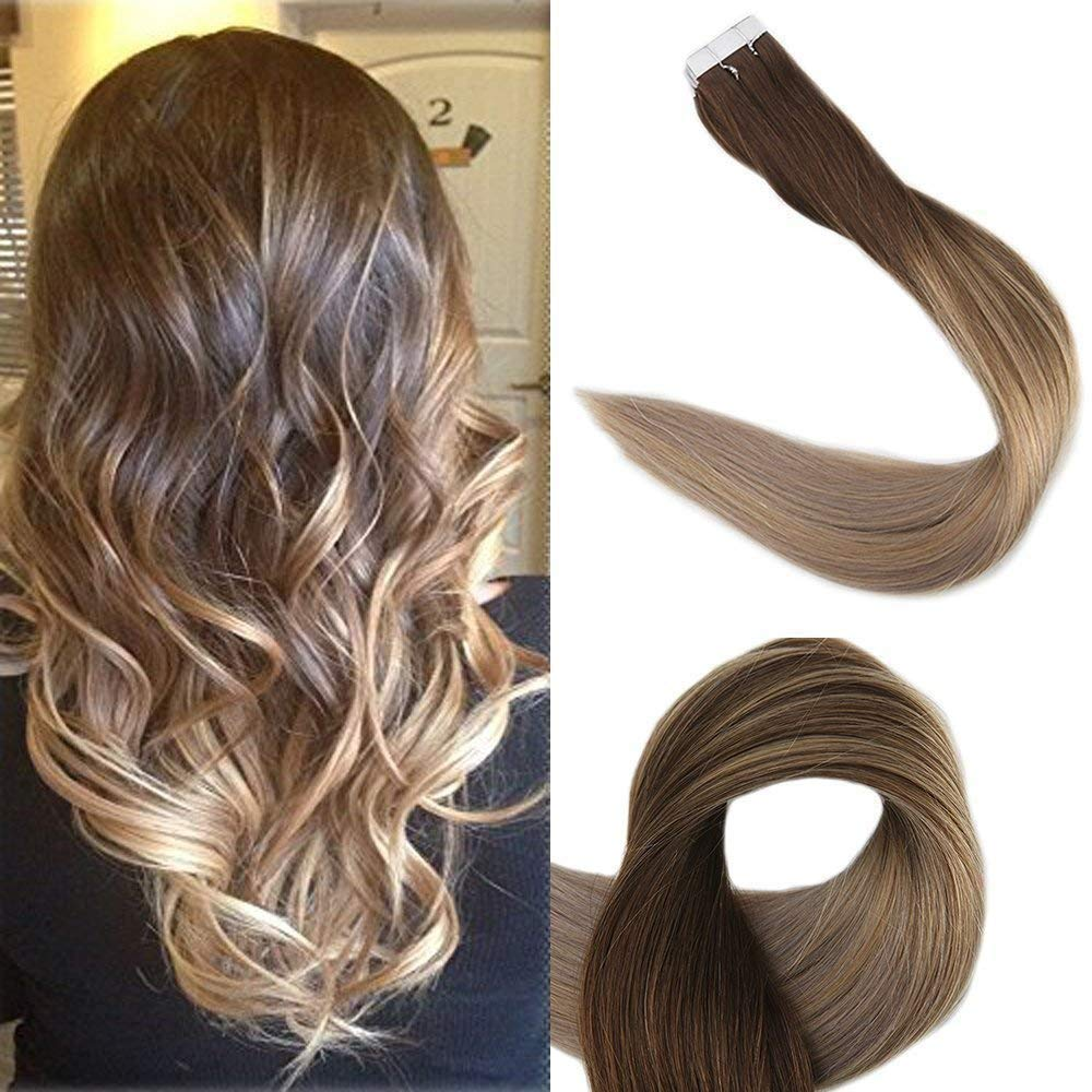 Full Shine 16inch Balayage Hair Extensions Human Hair Tape in Full Head Human Hair Extensions Ombre Color #4 Brown Fading to #18 and #27 50g 20Pcs by Fshine