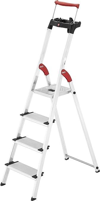 8030-407 4 XXL-Stufen, EasyClix, Ablageschale, ausziehbarer Halteb/ügel, bis 150 kg Hailo XXR ComfortLine Alu Stehleiter